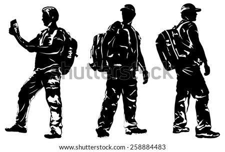 Man tourist silhouettes. EPS 10 format. - stock vector