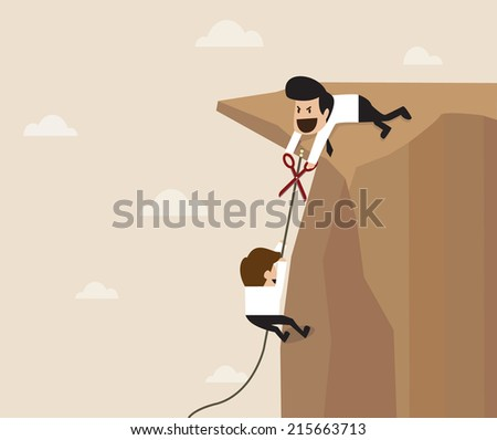 Man trying to cut climbing rope - stock vector