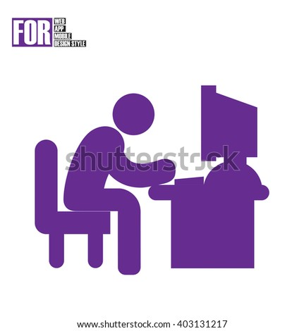 Man typing on computer desk icon - stock vector