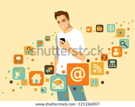 Man using smartphone. Around it - social and media icons - stock vector