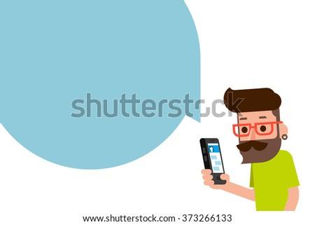 Man using smartphone flatdesign cartoon. - stock vector
