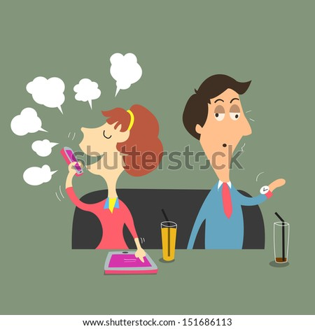 Man waiting too long for his lover to finish chatting on smartphone and using her tablet. Smartphone and social network addiction concept.  - stock vector