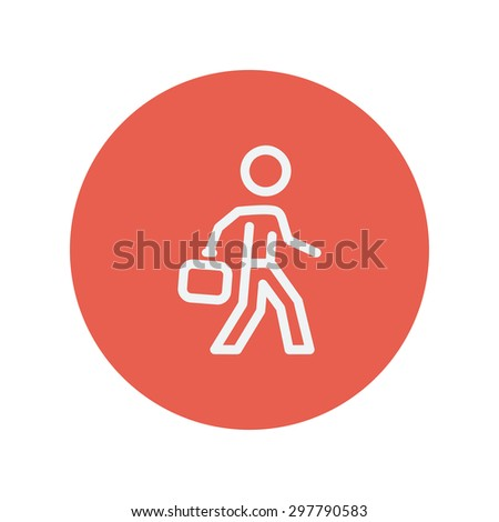 Man walking with briefcase thin line icon for web and mobile minimalistic flat design. Vector white icon inside the red circle. - stock vector