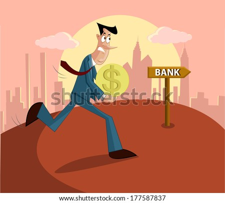 man walking with money towards bank, loan repayment concept - stock vector