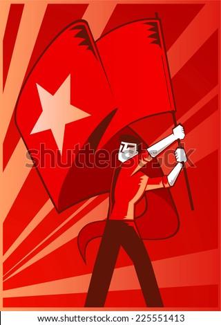 Man waving a communist flag - stock vector