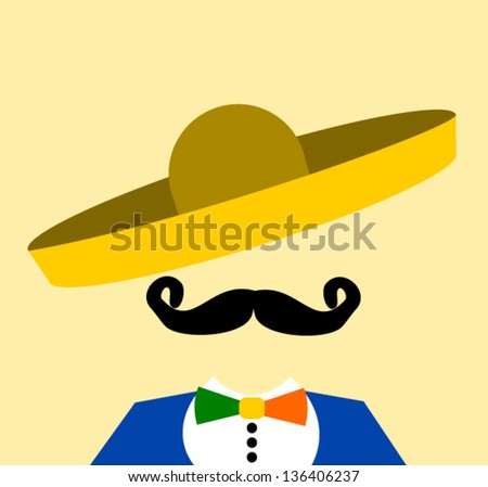 man wearing sombrero and colorful bow tie - stock vector