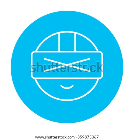 Man wearing virtual reality headset line icon. - stock vector