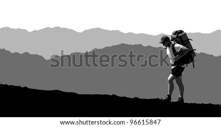 Man with a backpack going up the hill - stock vector