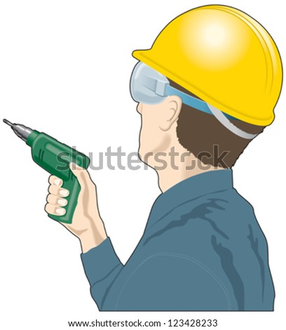 Man with a drill and hardhat, builder, DIY - stock vector
