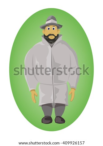 Man with a hat. Standing posture. Wearing a raincoat. One man isolated on green elliptical background. Digital vector illustration. - stock vector