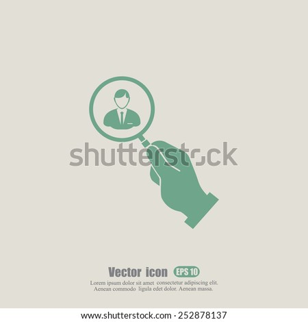 man with a magnifying glass icon  - stock vector