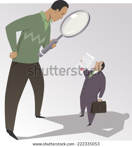 Man with a magnifying glass reading the fine print on a document, vector cartoon - stock vector