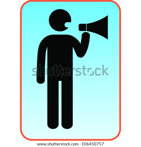 Man with a megaphone icon - stock vector