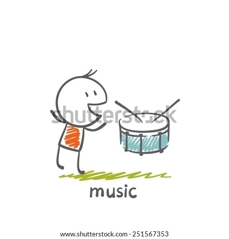 man with a musical instrument drum illustration - stock vector