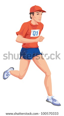 Man with a red shirt, number one, running a marathon. - stock vector