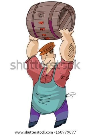 man with barrel fool of beer - cartoon - stock vector