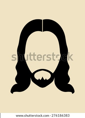 Man with beards and long hair symbol - stock vector