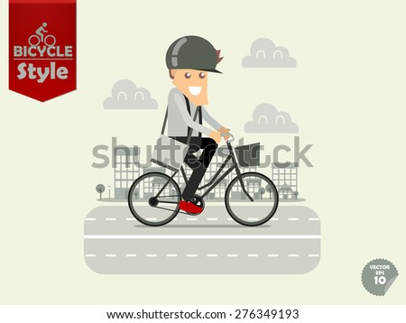 man with bicycle helmet is cycling city bicycle with town background,city bicycle concept - stock vector