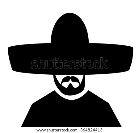man with black sombrero and beard - stock vector