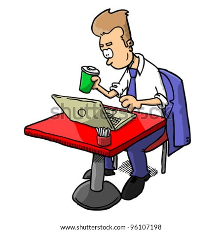 Man with coffee working on laptop (vector) - stock vector