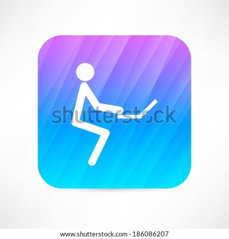 man with computer icon - stock vector