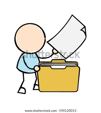 Man with Files and Folder  - stock vector