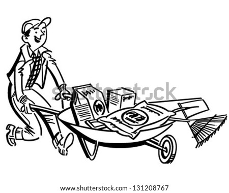 Man With Gardening Supplies - Retro Clip Art Illustration - stock vector