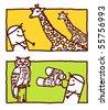 man with giraffes & owl - stock vector