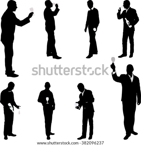 man with glass drinking silhouettes - vector - stock vector