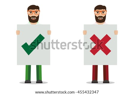 Man with glasses holding placard, vector illustration. - stock vector