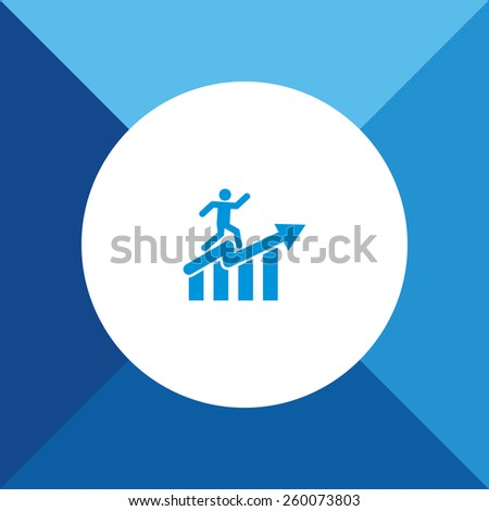 Man with Graph Icon on Blue Background. Eps-10. - stock vector