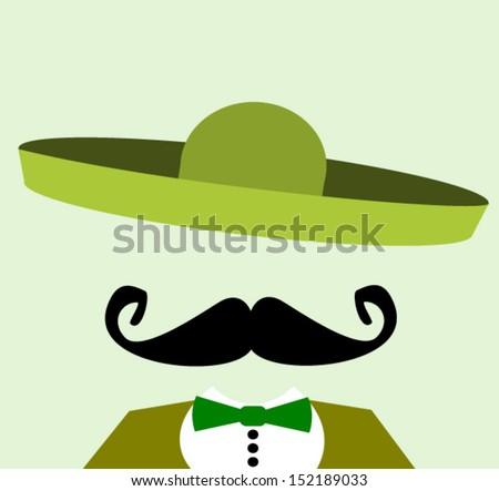 man with green sombrero - stock vector