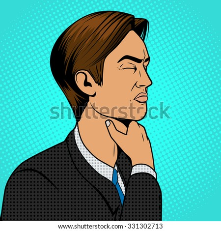 Man with hard sore throat old comic book pop art retro style vector medical illustration - stock vector