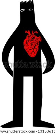 Man with hearth - stock vector