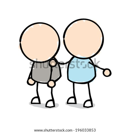 Man With his Hand on the Shoulder of Another Man Who is Slouched and Depressed - stock vector