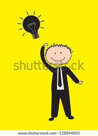 Man with idea over yellow background vector illustration - stock vector
