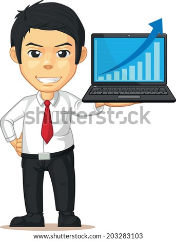 Man with Increasing Graph or Chart on Laptop - stock vector