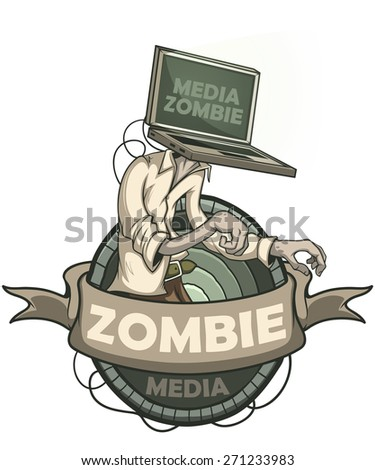 Man with laptop media zombies instead of the head. Label isolated - stock vector