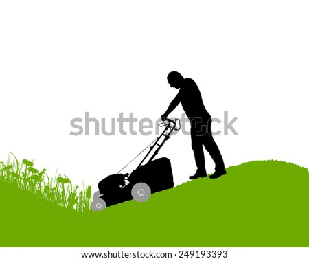 Man with lawn-mower - stock vector