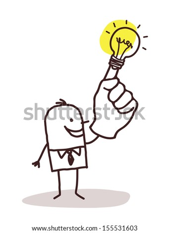 man with light bulb on finger - stock vector