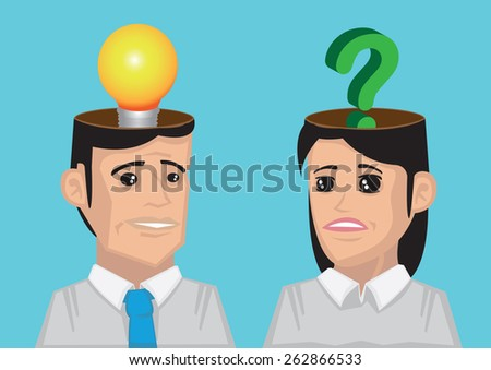Man with lightbulb in his head and woman with question mark in her head. Conceptual vector illustration for communication breakdown. - stock vector