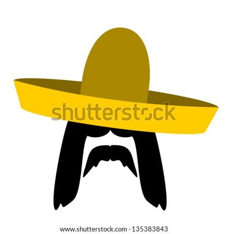 man with long hair wearing sombrero - stock vector