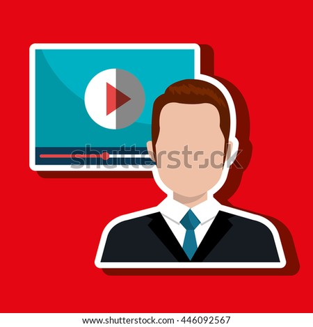 man  with  media player template isolated icon design, vector illustration  graphic  - stock vector