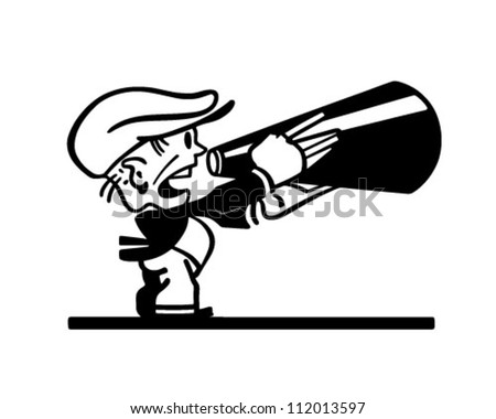 Man With Megaphone - Retro Clipart Illustration - stock vector