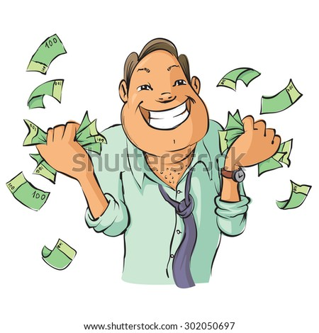 Man with money, Vector Illustration - stock vector