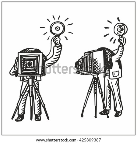 Man with old camera. - stock vector
