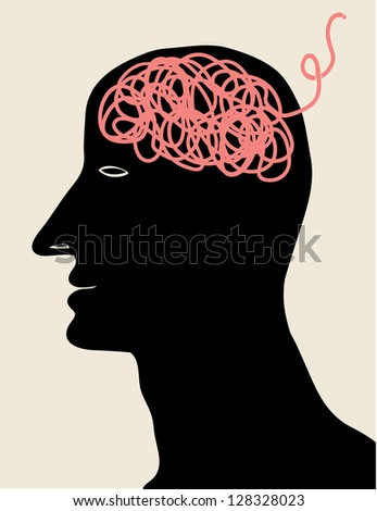 man with pink thread brain - stock vector