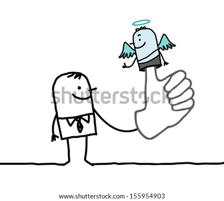 man with puppet angel on finger - stock vector