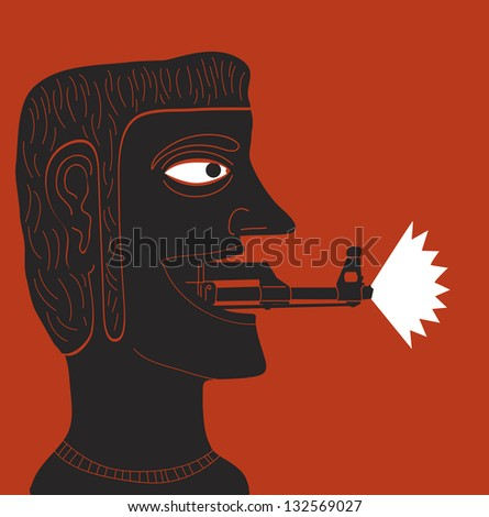 man with rifle cannon in mouth - stock vector