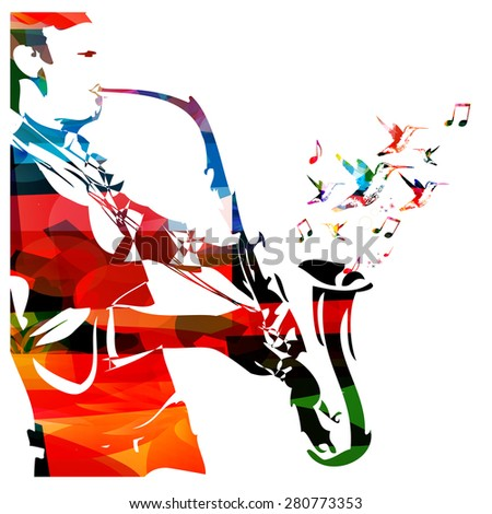 Man with saxophone - stock vector